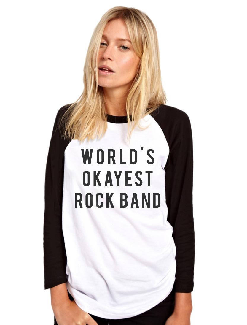 World?s Okayest Rock Band Womens Baseball Top