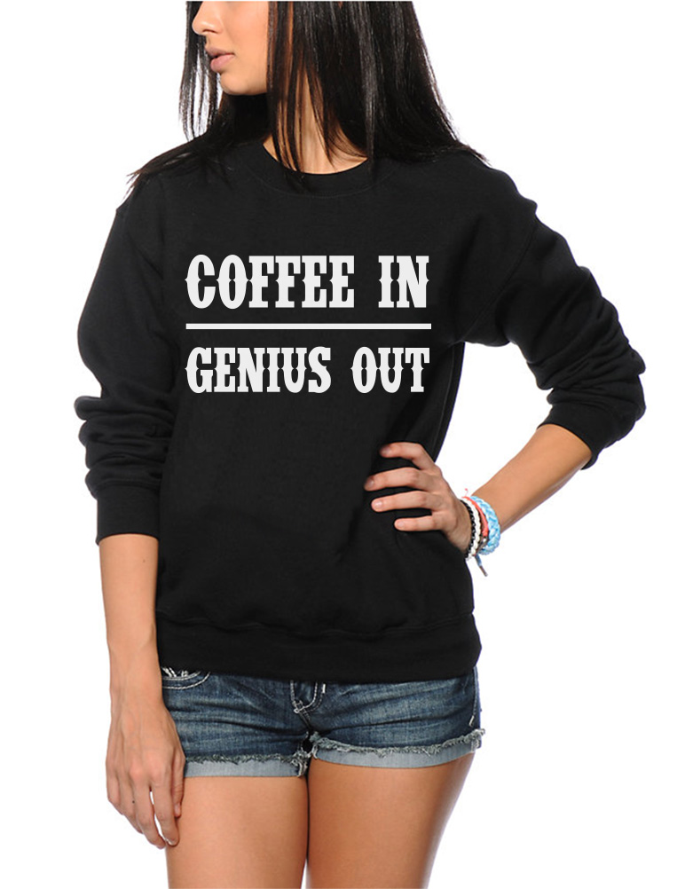 Coffee lover Gift Youth /& Womens Sweatshirt Coffee In Genius Out