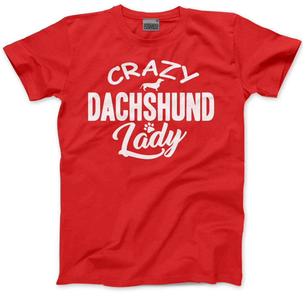 Crazy-Dachshund-Lady-Dog-Puppy-Pet-Gift-Unisex-T-Shirt